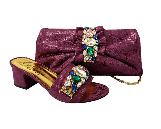 Valerie,  jewel embellished magenta wedding sandals and matching bag