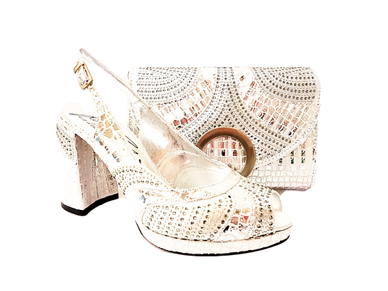 Lizzy, Salgati silver block heel wedding shoes and bag set