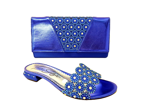Fiorella, blue laser-cut low wedding sandals and matching bag
