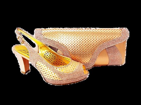 Minna, Salgati rose-gold laser-cut mid-height wedding set