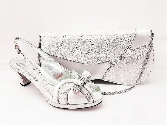 Sheila, Salgati silver low heel platform shoes and bag wedding set