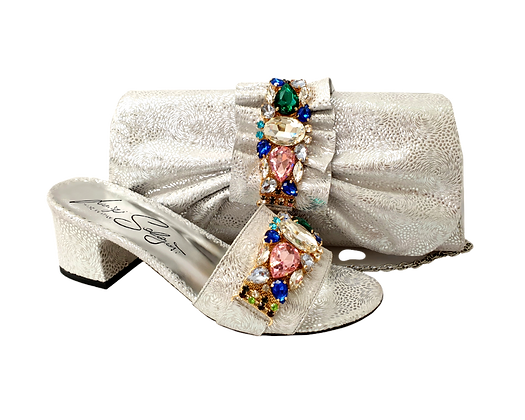 Valerie,  jewel embellished silver wedding sandals and matching bag