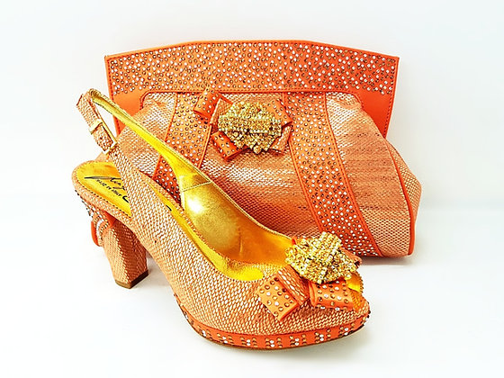 Sharon, Salgati peach mid-height platform shoes and bag set
