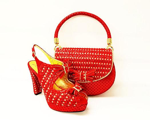 Salgati red butterfly threaded high heel platform shoes and bag set