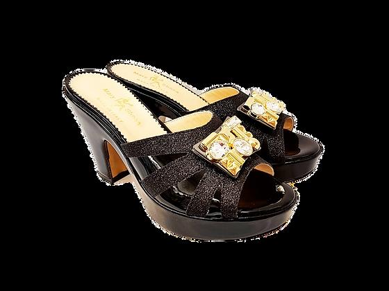 Black Mary Shoes wet-look platform sandals