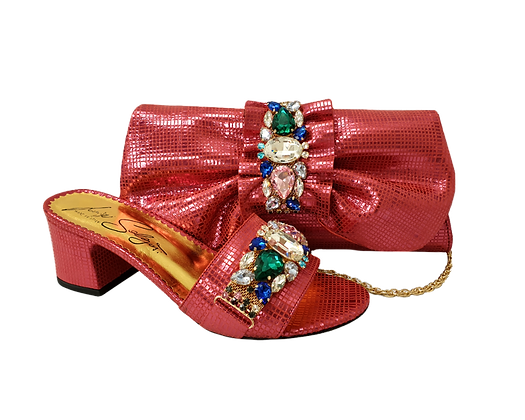 Valerie,  jewel embellished coral wedding sandals and matching bag