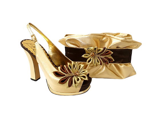 Ruby, Salgati gold-bronze high heel occasion shoes and matching bag set