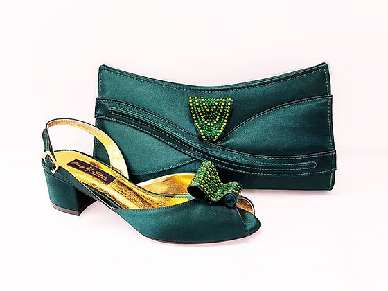 Poppy, emerald Mary Shoes low chunky heel wedding shoes and bag set