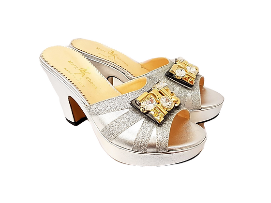 Silver Mary Shoes wet-look platform sandals