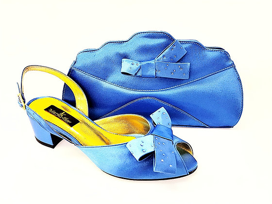 Verona, Mary Shoes blue low chunky heel wedding set