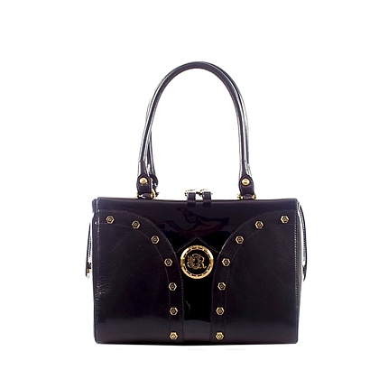 Shapes, Cerruti mid-shaped black leather tote bag