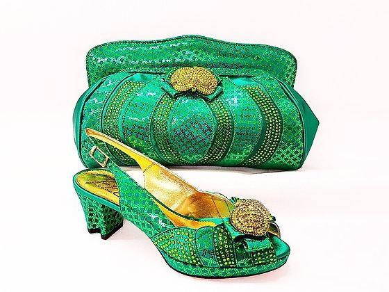 Florence, Salgati green low heel platform wedding shoes and