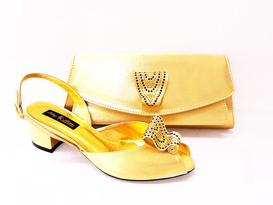 Poppy, gold Mary Shoes low chunky heel wedding shoes and bag set