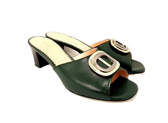 Olivia, emerald mid block heel sandals