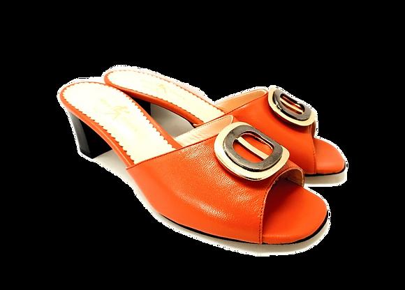 Olivia, orange mid block heel sandals