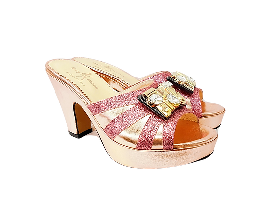 Blush Mary Shoes wet-look platform sandals