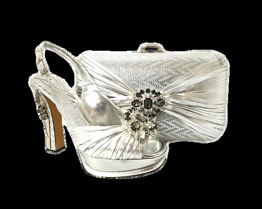 Vogue, Salgati silver wedding party shoes and bag set