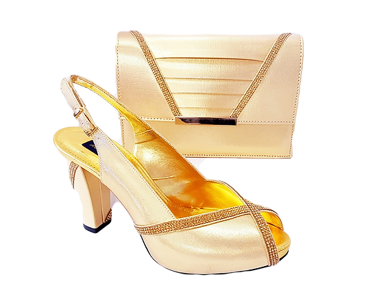 Lucia, gold Mary Shoes mid-height platform shoes and matching bag set