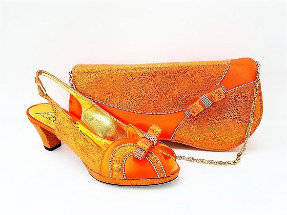 Sheila, Salgati orange low heel platform shoes and bag wedding set