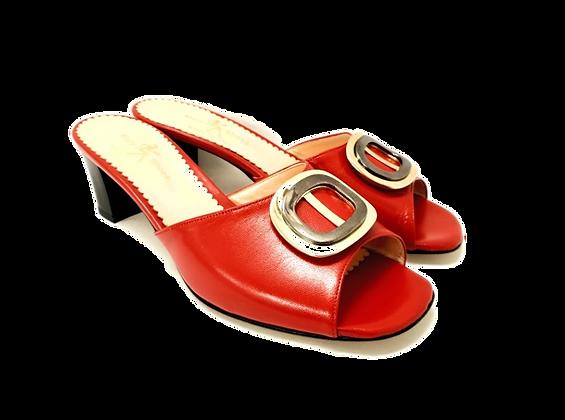 Olivia, red mid block heel sandals