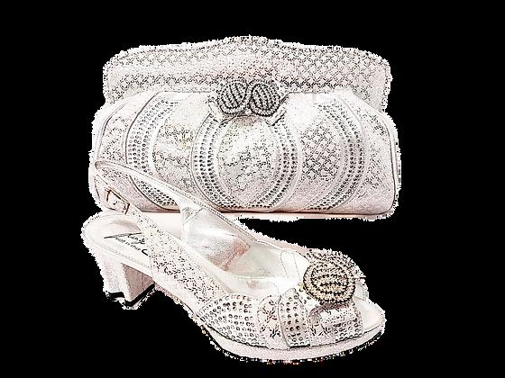 Florence, Salgati silver low heel platform wedding shoes and bag set