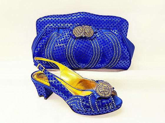 Florence, Salgati blue low heel platform wedding shoes and bag set