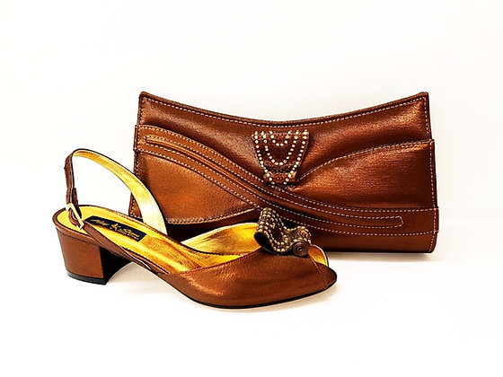 Poppy, brown Mary Shoes low chunky heel wedding shoes and bag set