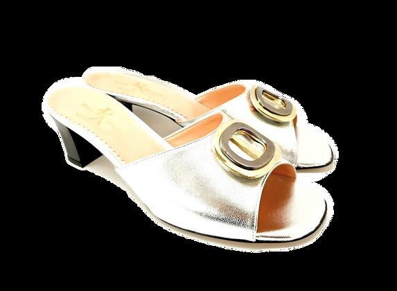Olivia, silver mid block heel sandals