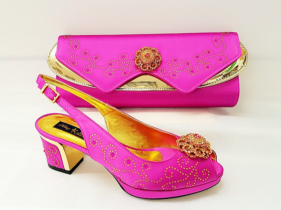 Pink Mary Shoes gold-plated platform shoes and matching bag set