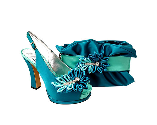 Ruby, Salgati teal-aqua high heel occasion shoes and matching bag set