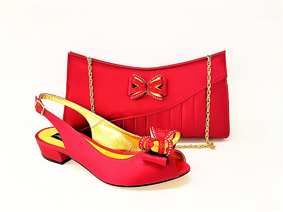 Arlene, Mary Shoes burgundy very low heel shoes and matching bag set