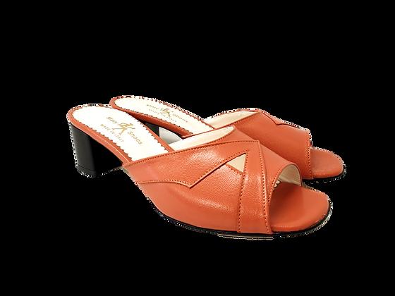 Barbara, orange mid block heel sandals