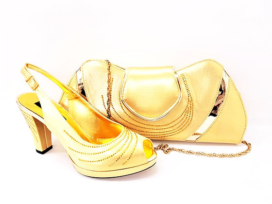 C-Wave, Mary Shoes gold stone embellished mid-height wedding shoes and