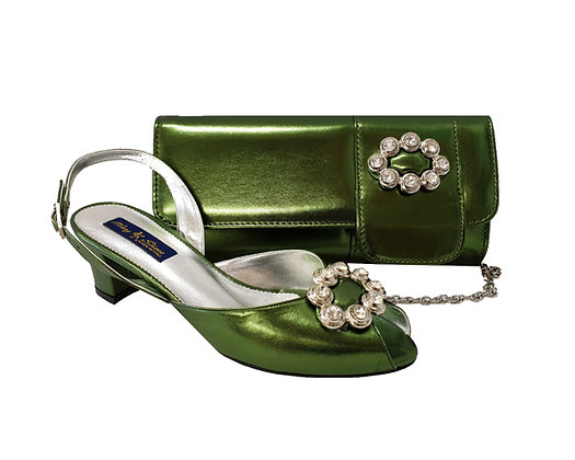 Francesca, Mary Shoes olive-green low heel wedding shoes and matching bag set