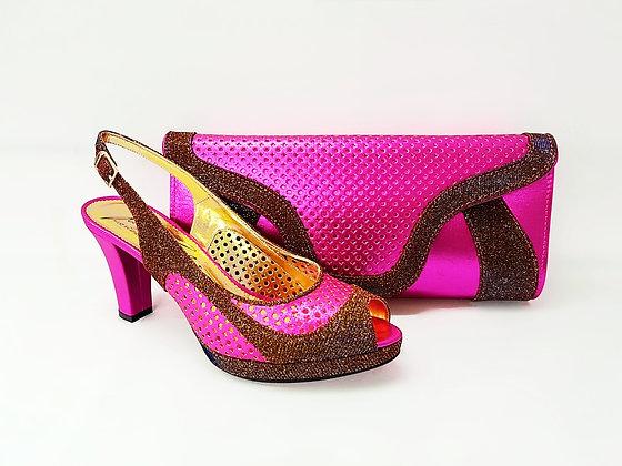Minna, Salgati pink laser-cut mid-height wedding set