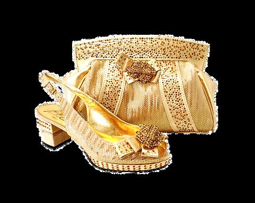Sharon, Salgati gold low heel wedding shoes and matching bag set