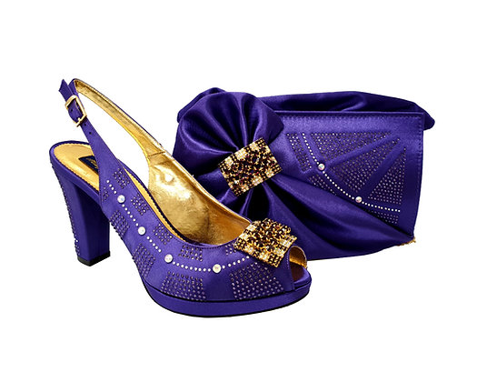 Emma, MaryShoes purple mid-height wedding shoes and matching bag set