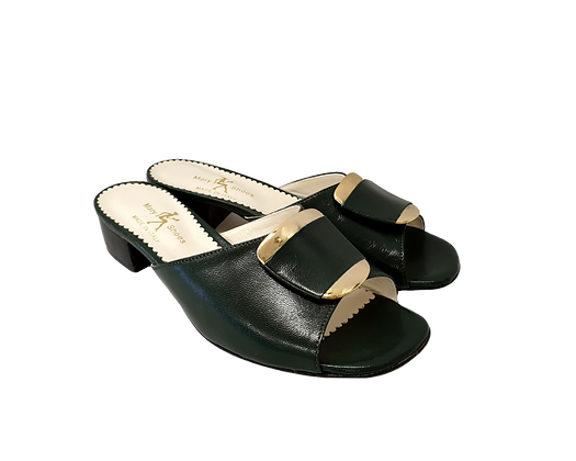 Abby, Mary Shoes emerald low heel sandals