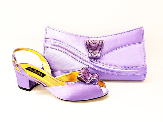 Poppy, lilac Mary Shoes low chunky heel wedding shoes and bag set