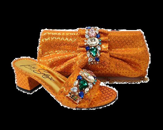 Valerie,  jewel embellished orange wedding sandals and matching bag