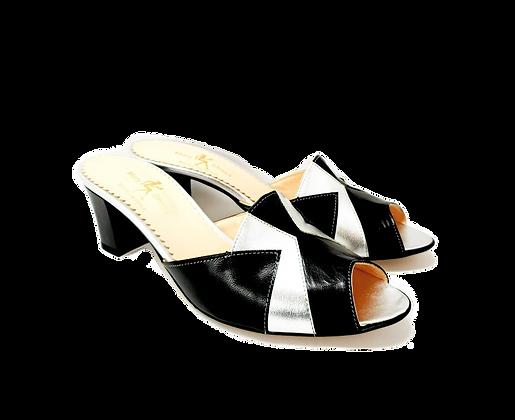 Alice, silver and black mid block heel sandals
