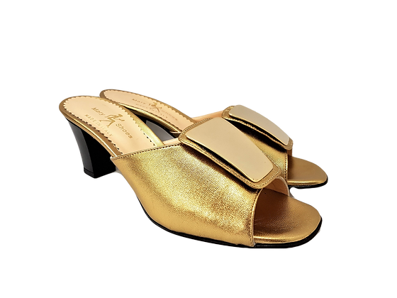 Leyla gold mid-height leather sandals