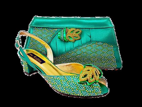 Chiara, green stone adorned low heel wedding shoes and bag