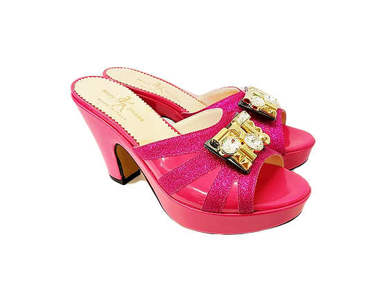 Pink Mary Shoes wet-look platform sandals