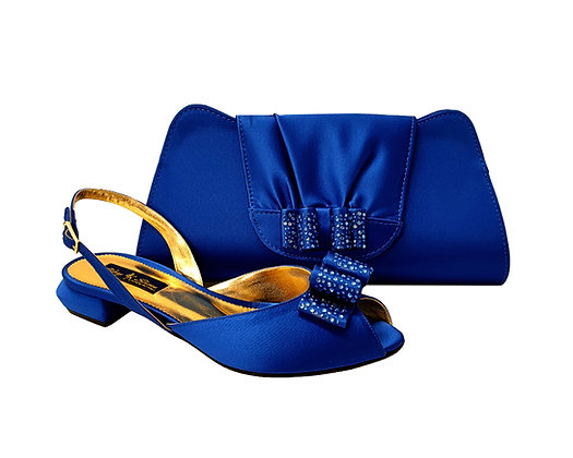 Ava, Mary Shoes blue very low wedding shoes and matching bag