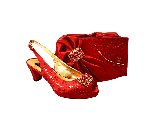 Emma, Mary Shoes red low heel wedding shoes and matching bag set