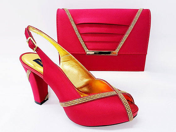 Lucia, burgundy Mary Shoes mid-height platform shoes and matching bag set