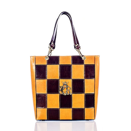 Brown & Camel Cerruti Leather Chess Handbag