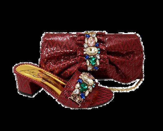 Valerie,  jewel embellished burgundy wedding sandals and matching bag