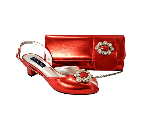 Francesca, Mary Shoes red low heel wedding shoes and matching bag set